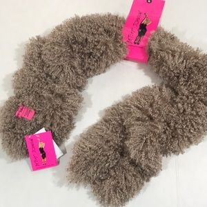 Betsey Johnson taupe curly q's snap scarf